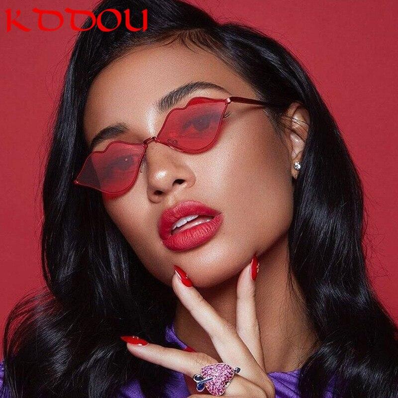 Óculos de sol mulheres Sexy lábios forma óculos amarelo retro óculos de sol 2018 Do Vintage da marca designer uv400 oculos lunette de soleil femme