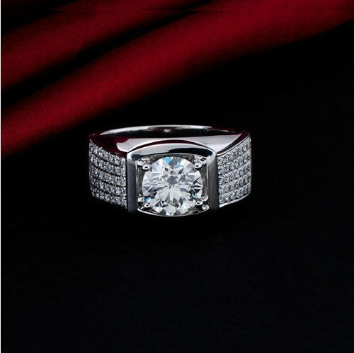 5 Carat Top Luxury Big Man Ring Real Solid 18K White Gold