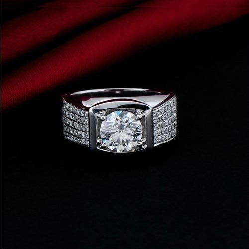 5 Carat Top Luxury Big Man Ring Real Solid 18K White Gold Man Ring Lord Diamond Mens Wedding