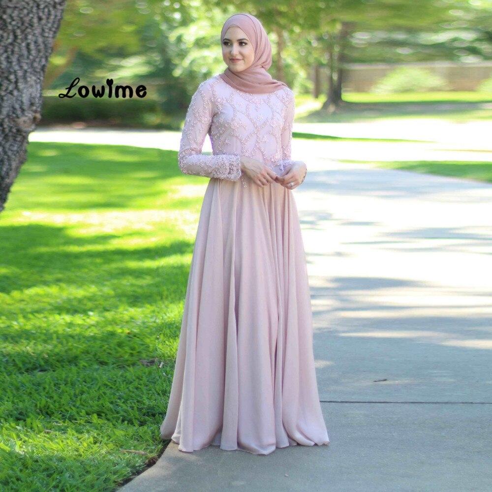 Musulman Hijab Manches Longues Formelle Élégante Robe de Soirée En Mousseline de Soie Robes De ...