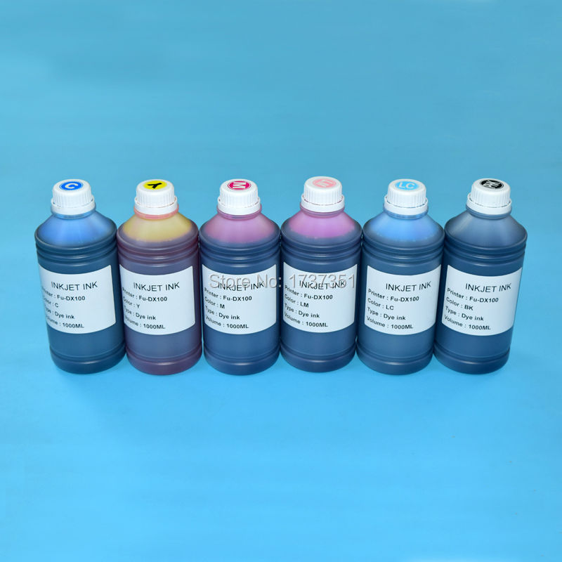 6 color 1000ml printing bulk dye ink refill kit for FUJI DX100 inkjet printer hp711 printing ink refill kit 4color 1000ml for hp designjet t520 t120 printer