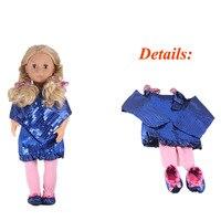 OG Princesse Bleu Sequin Robe Partie Robe Poupée Leggings Et Chaussures Fit 18 Pouce Poupée American Girl
