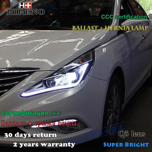 Hireno HHireno Headlamp for 2011-2015 Hyundai Sonata Headlight Assembly LED DRL Angel Lens Double Beam HID Xenon 2pcs