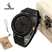 Бобо птица WC27 Мужская Дизайн бренд роскошный деревянный Бамбука часы с натуральной кожи кварцевые часы в подарочной коробке принять OEM Настроить