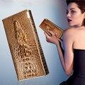 Marca de Couro de vaca couro genuíno real Natural pele de crocodilo jacaré carteiras de longo bolsa da moeda titular do cartão de bolso para as mulheres
