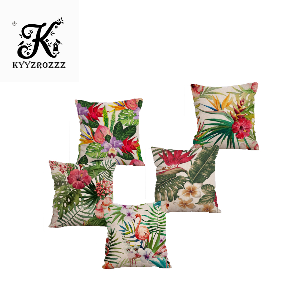 Tropical Rain Forests Plants Cushions Covers Summer Style Botanical Garden Leaf Leaves Cushion Cover Linen Cotton Pillow Case