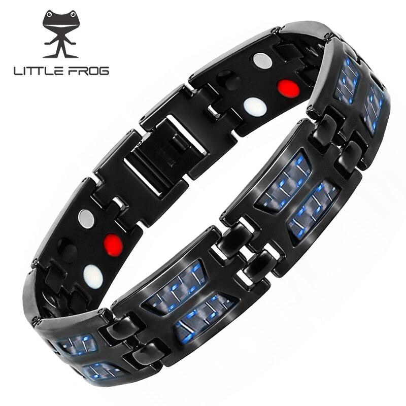 LITTLE FROG Men Jewelry Healing Magnetic Bangles Balance Health Bracelets Blue Titanium Bracelets Special Male 10220
