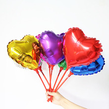 100pcs/lot 8.5inch GOLD heart balloons small foil ballon with stick and cups air-filled globos for wedding birthday supplies