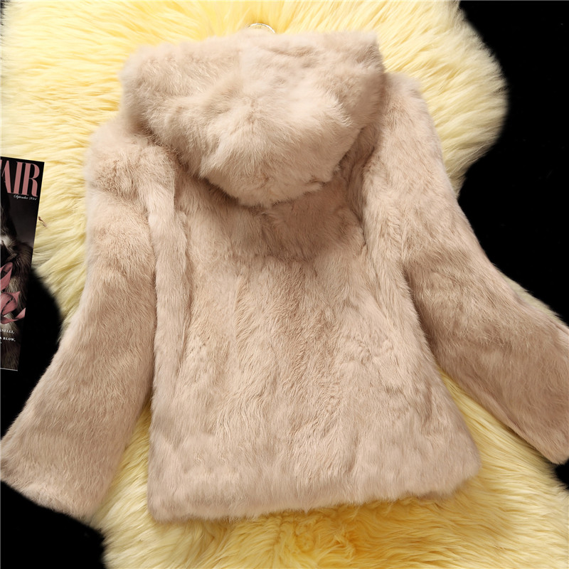Hooded Natural Rabbit Fur Coats Outerwear Women Whole Skin Real Fur Jacket Woman Genuine Leather Fur Overcoat 2019 Autumn Winter