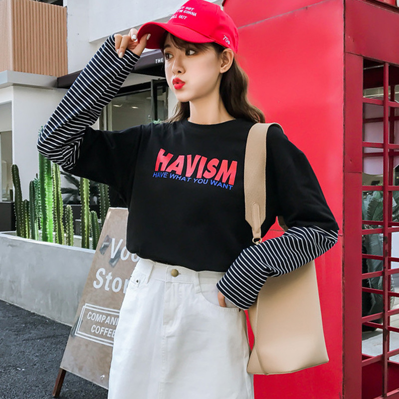 2019 Autumn Casual Long Sleeves T-shirt Womens Tops Korean Style Women Letters Print Striped Stitching Fake Two Pieces T Shirt