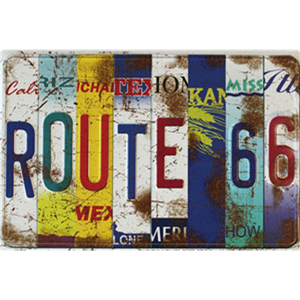 USA Vintage Metal Tin Signs Route 66 Car Number License Plate Plaque Poster Bar Club Wall Garage Home Decoration 30x20cm 1001