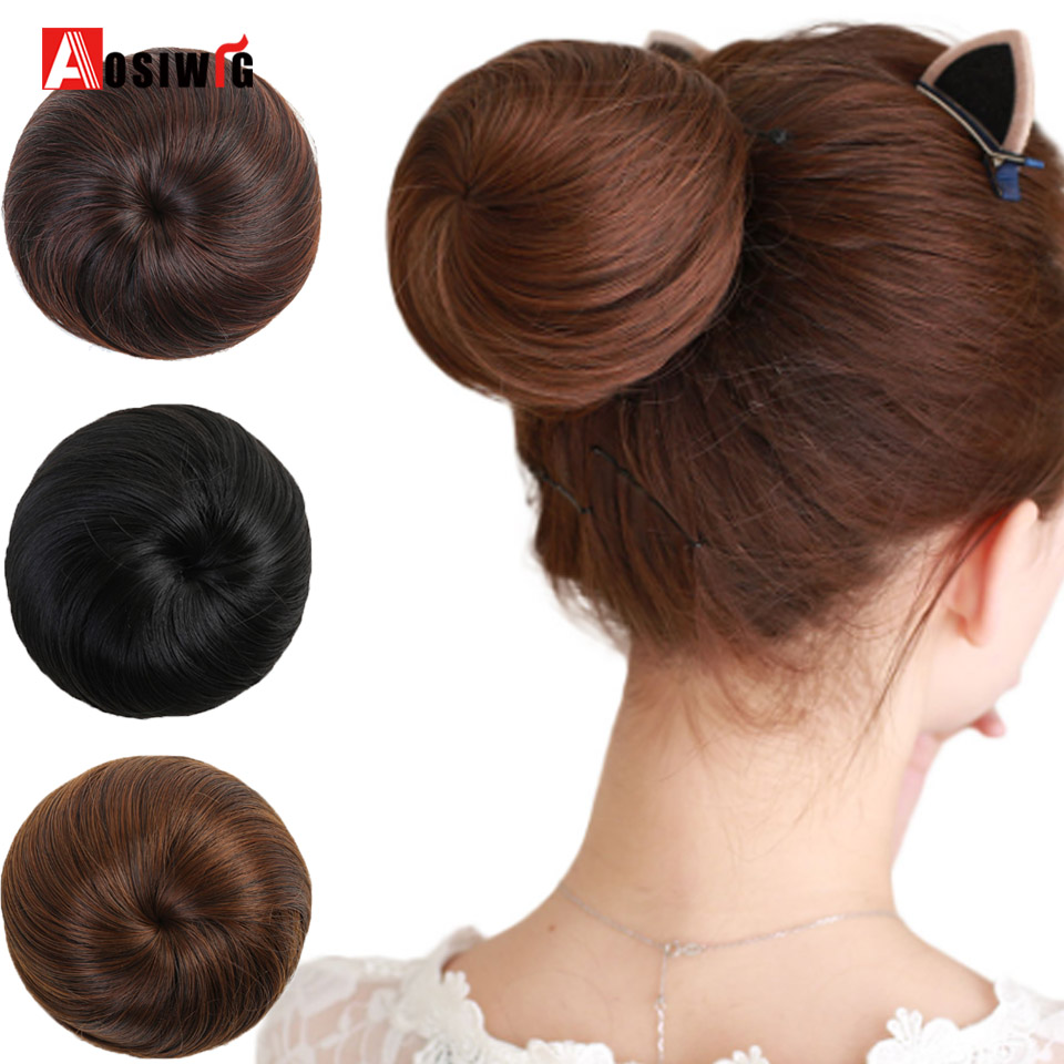 Short Synthetic Hair Extension Chignon Donut Roller Bun Wig Hairpiece For Women 10 Colors Available AOSIWIG