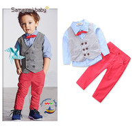 Fashion Children's Clothing Set For Boy 3 Piece Gentleman Boys Wedding Clothes Toddler Boy Formal Outfit Little Boys Clothes Set