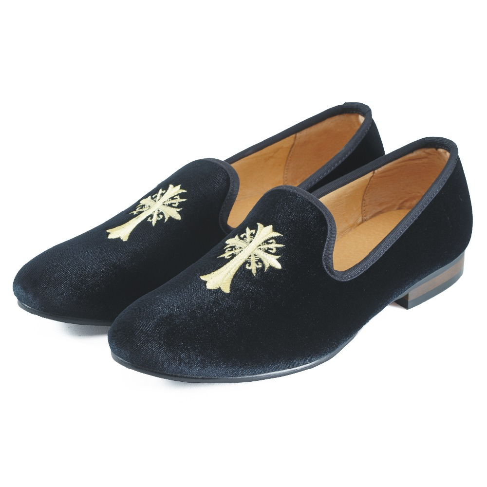 ФОТО New Handmade Mens Velvet Loafers Shoes Embroidery Men Party Dress Shoes Smoking Slipper Fashion Men's Flats Black Blue Size 7-13