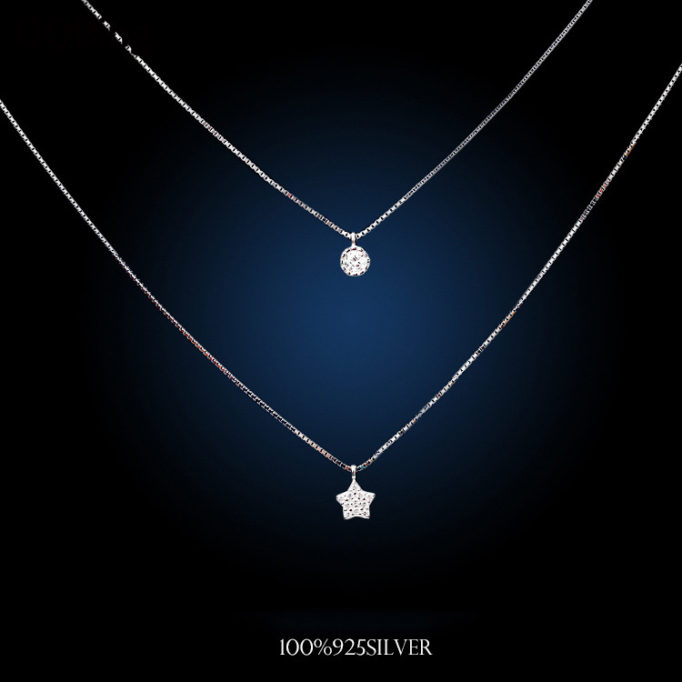 Кореялық Fashion Double Chain Necklaces 925 Sterling Silver Star Necklaces & Pendants Зергерлік бұйымдар Collar Colar Тегін жеткізу