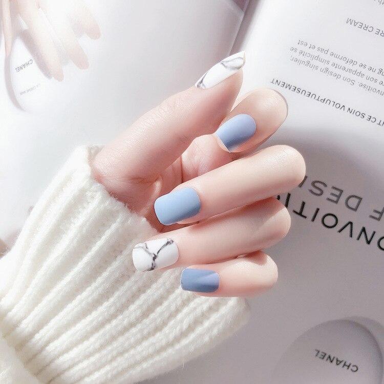 Aliexpress Com Buy 24pcs White Light Blue Fake Nail