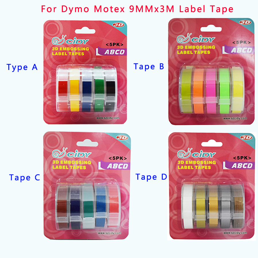 5pcs/lot New 9MM Manual Label Machine Ribbon Label Tape For Motex DYMO 1610/1540/1880/12965 Label Machine DIY Printer