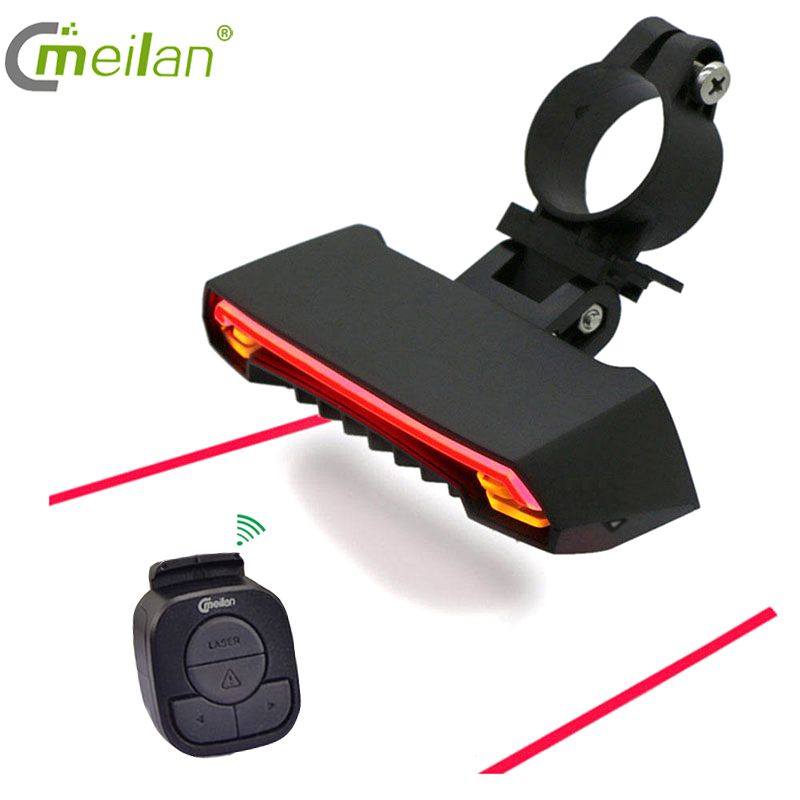 Wireless Bike Light Brake Bicycle Rear Light Laser Taillight Smart USB Rechargeable Cycling Accessories Remote Turn Led