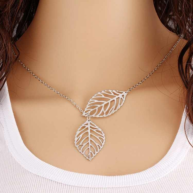 Metal Double Silver Leaf Necklace Double Leaf Clavicle Chain  Necklace Women  Gold Chain Leaf Pendant Necklace Jewelry