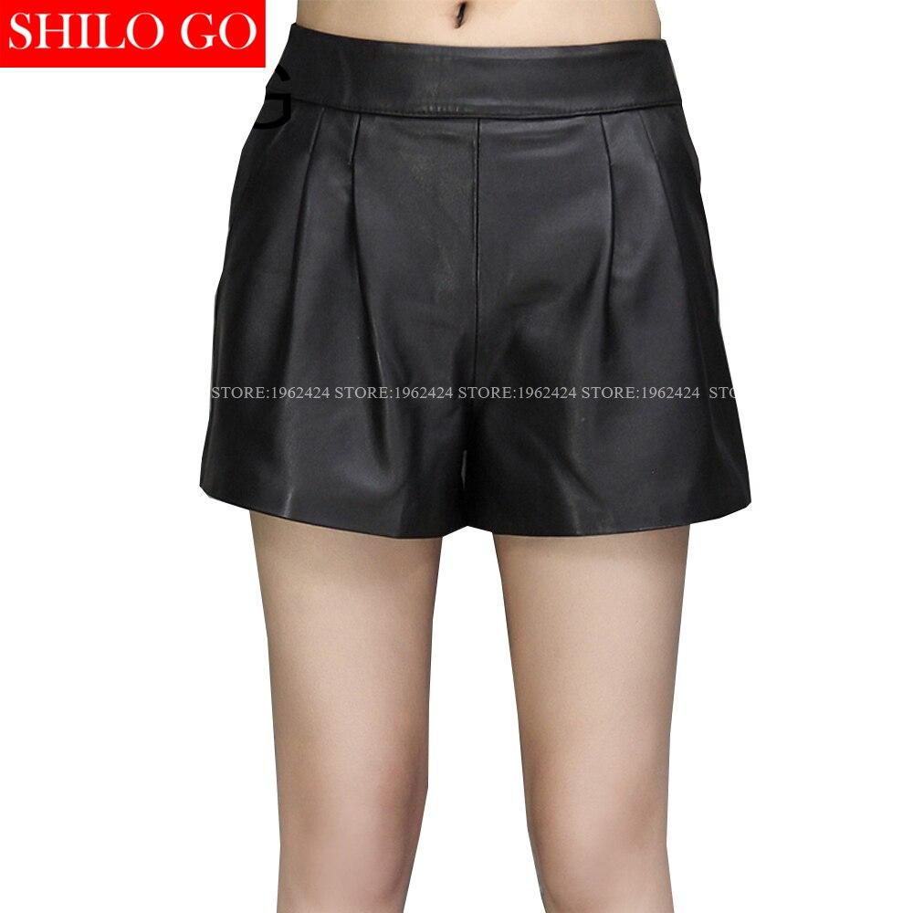 SHILO GO New Fashion Street Women's Empire Short Sheepskin Genuine Leather Pocket Shorts Zipper Ladies Black Shorts Good Quality