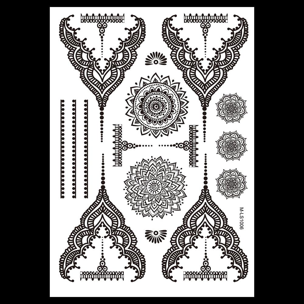 1pc Newly Design Black Fake Waterproof Tattoo BM-LS1006 Temporary Tattoo for Women Body Art Flower Necklace Jewelry Sticker Gift