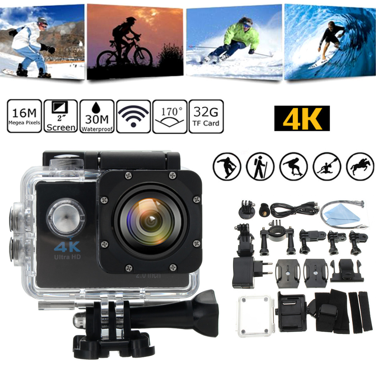 HD 1080P Wifi Waterproof Ultra Sport Act Camera Camcorder 4K SJ9000 DVR Cam
