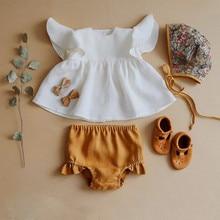 Милый комплект летней одежды для новорожденных девочек, однотонный белый топ с оборками, платье и Шорты повседневные шорты, комплект одежды из 2 предметов, купальный костюм