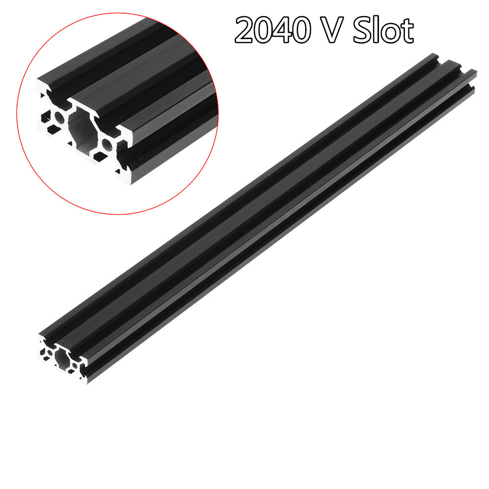 Black 100-1000mm <font><b>2040</b></font> <font><b>V</b></font>-<font><b>Slot</b></font> Aluminum Profile Extrusion Frame for CNC DIY Laser Engraving Machine 3D Printers Camera Slider image