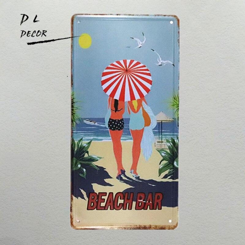 DL-meninas de praia placa pin up decorações de parede sinal do metal poster vintage para bar