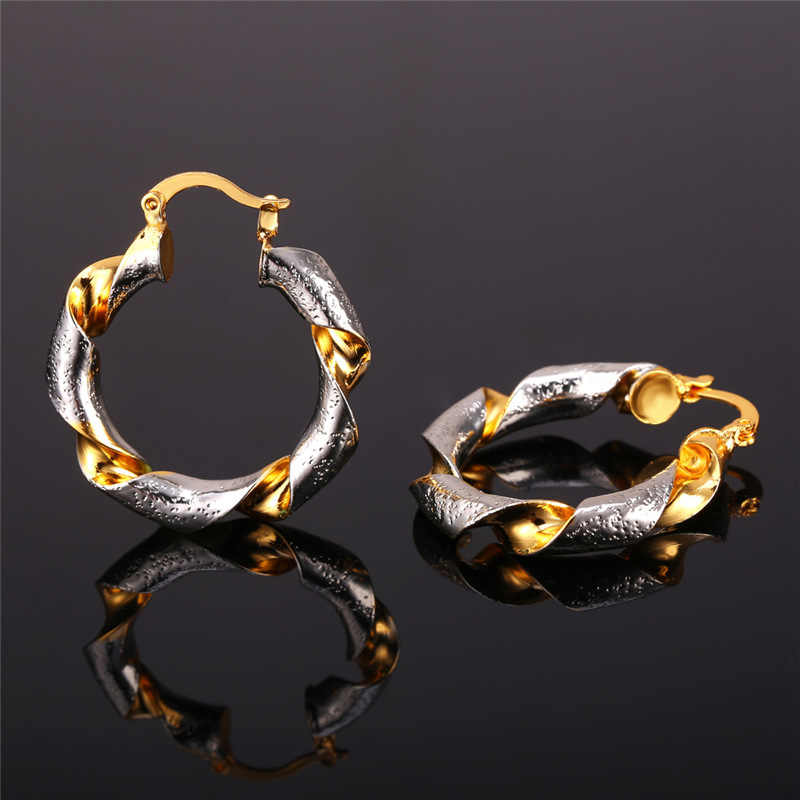 Kpop Gold Color Hoop Earrings For Women 2 Tone Trendy Vintage Earrings For Women Jewelry E226