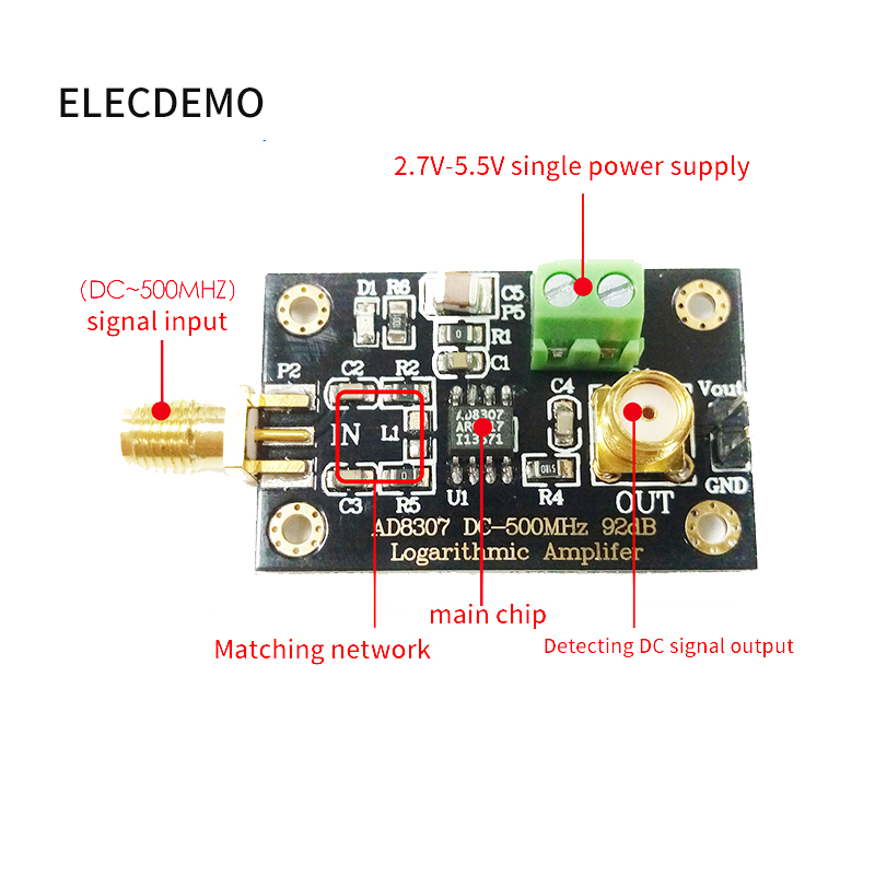 Image 4 - AD8307 module RF Power Detector Module Logarithmic detector Transmitter Antenna Power to 500MHz Function demo board-in Demo Board Accessories from Computer & Office