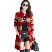 Őszi Női Alkalmi Pulóverek Laza O-nyakú hosszú ujjú kardigánok Téli Kötött ugrók Stripe Outwear kabát kabát zsebbel