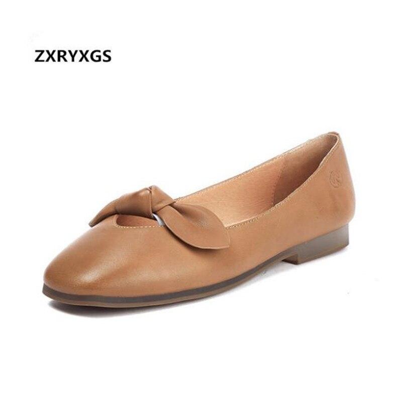2019 nouveau printemps Bow chaussures en cuir véritable semelle souple confort en peau de mouton bouche peu profonde chaussures plates bout carré femmes chaussures