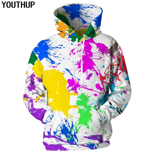 a4b13a006980 YOUTHUP 2018 New Autumn Messy Hoodies Men 3D Hoodies Splash Paint Print  Hooded Sweatshirts Men Funny Hoodies Fashion 3d Pullover