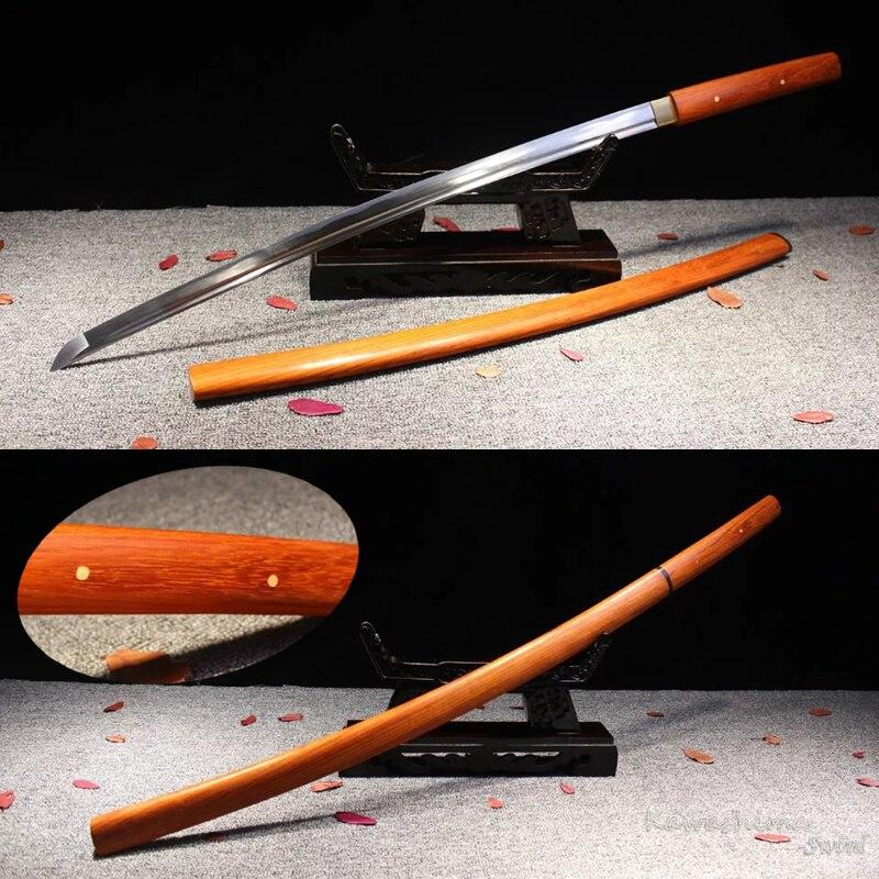 Forgiato a mano 1045 In Acciaio Al Carbonio Samurai Sword Shirasaya Legno di Rosa Fodero Reale Giapponese Katana Nitidezza Pieno Tang Nuova Fornitura-in Spade da Casa e giardino su  Gruppo 1