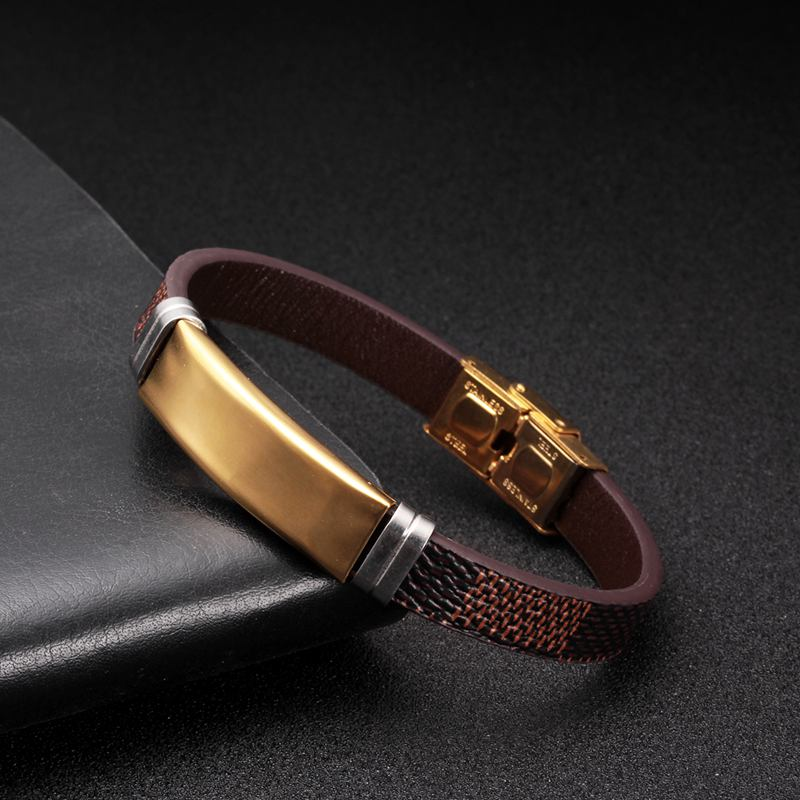 Classic Snake Chain Link Genuine Leather Bracelets Men Women Jewelry Stainless Steel Cuff Sporty Vintage Charm Bracelets