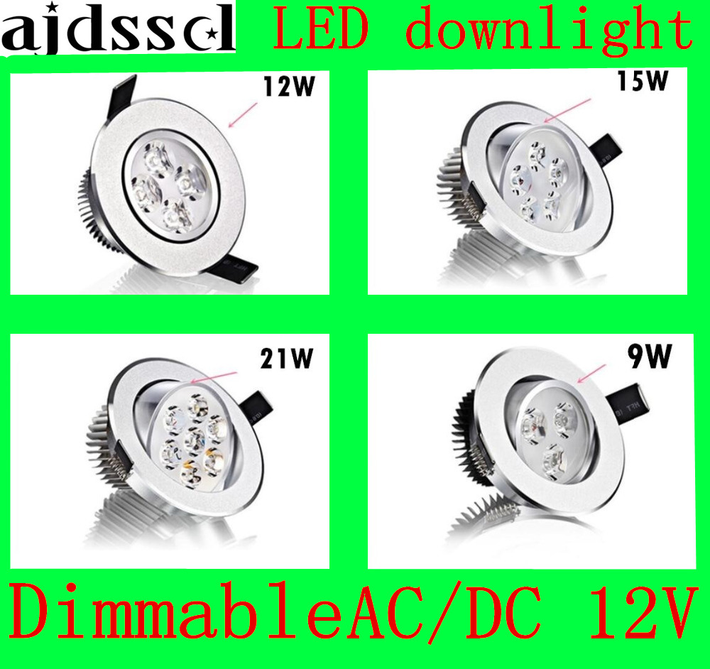 LED Downlight Recessed LED Dimmable Downlight COB 9W 12W 15W 21W LED Spot Light Decoration Ceiling Lamp AC/DC12V