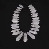 Large White Quartz Graduated Top Drilled Faceted Double Stick Point Pendants Strand Natural Stones Rough Raw