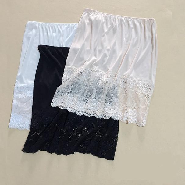 1PC 50% Silk Knit Lace Half Slip Nightdress Sleepwear Underskirt M L XL SG351