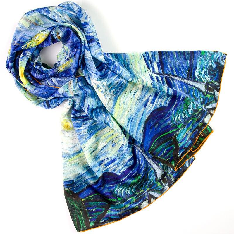 100% Silk Scarf Women Scarf The Starry Night Silk Shawl 2018 Designer Scarf Silk Pashmina Long Thick Silk Wrap Luxury Lady Gift