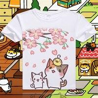 New-Game-Neko-Atsume-Cartoon-Cat-Cotton-T-shirt-Short-Sleeve-O-Neck-T-shirt-for-WomenStudent-Summer-Clothes-Top-Tees-S-4XL-2
