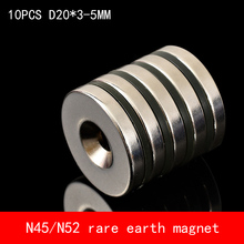 Hot Sale 10pcs 20 x 3mm Hole 5mm N45 N52 Super Strong Permanet Round Neodymium Countersunk Ring Magnet Rare Earth Magnets hot sale 20pcs 30 x 30 x 5 mm n52 super strong powerful rare earth block magnets neodymium magnet 30 30 5mm free shipping