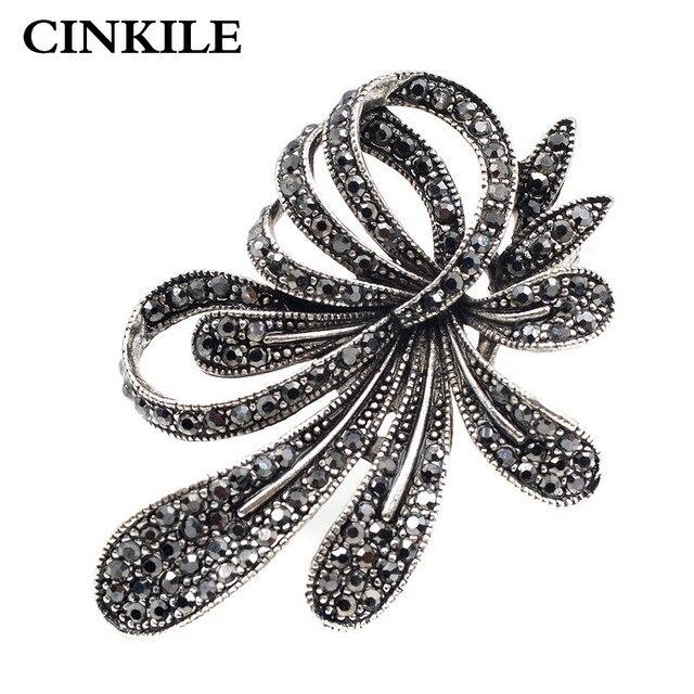 CINKILE Rhinestone Flower Brooches for Women Black Color Fashion Brooch Pin Vint