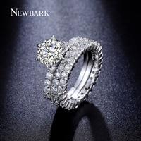 NEWBARK 3 Kreise Ring 1,5 Karat Runde CZ 6 Zinken Einstellung Silber Farbe Versprechen Ringe Für Paare Hochzeit Schmuck