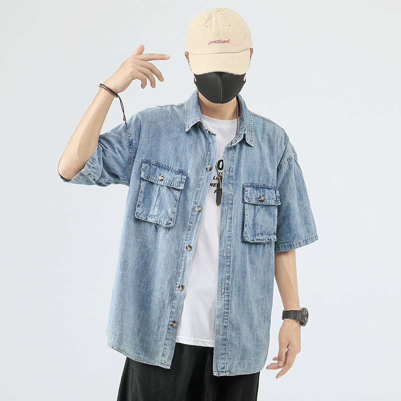 Casual Solid Denim Shirt For Men Fashion Hip Hop Multi-pockets Short Sleeve Mens Camisa Masculina Oversized Male Shirts