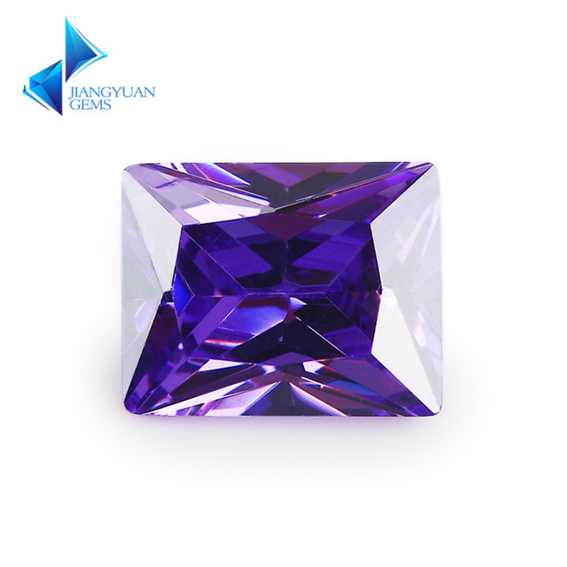 50Pcs Rectangle Shape 5A Violet Color CZ Stone 2x3-13x18mm Synthetic Gems Cubic Zirconia For Jewelry