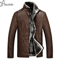 2016 new winter men's thick leather jacket casual leather men's fur coat male fashion WQ-3862