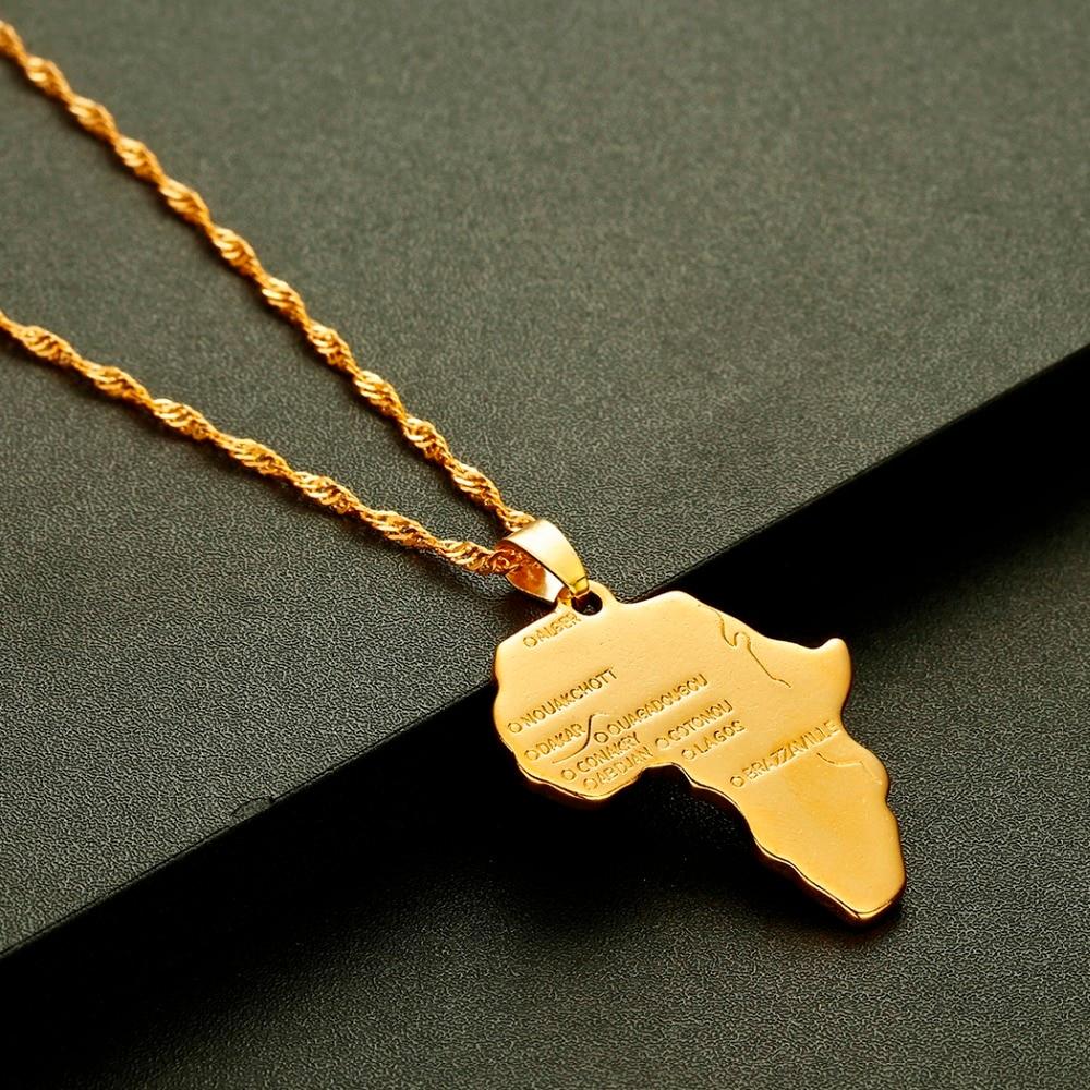 CHENGXUN хип хоп Африка ожерелье подарок золотой цвет кулон цепь африканская карта мужские и женские модные ювелирные изделия