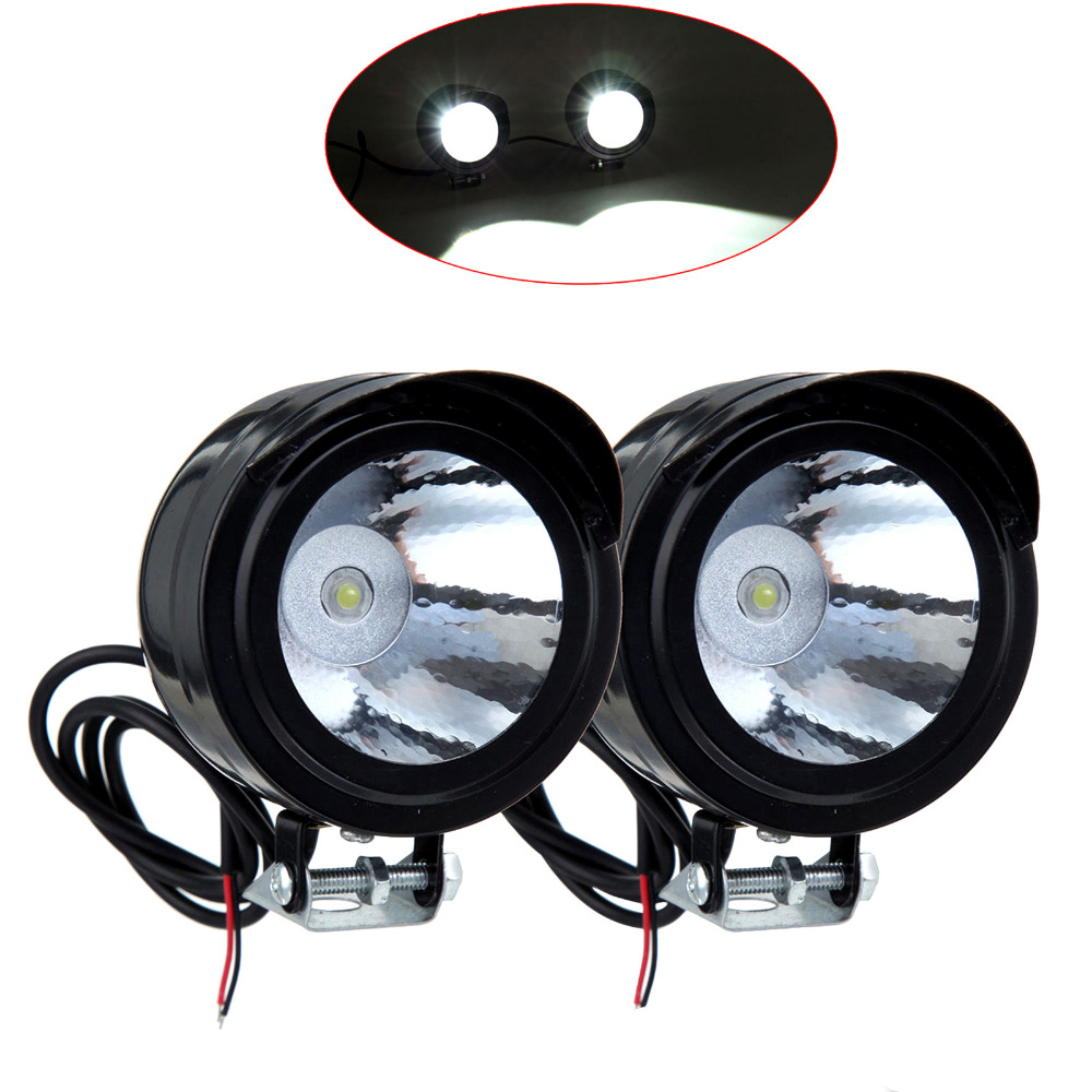 LSJ Car-Styling Store 2Pcs/lot  3W 12V-80V Motorcycle Headlight  LED Front Metal Headlight Driving Headlamp Moto Lights
