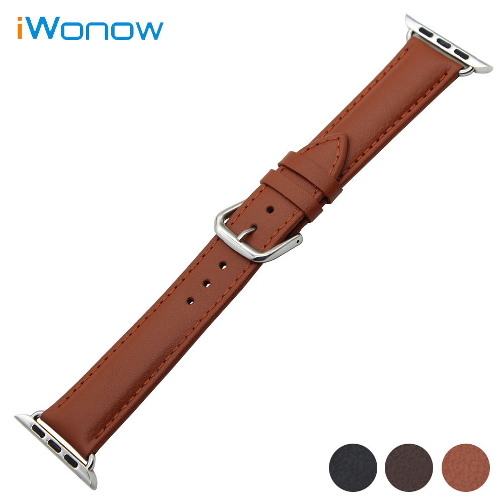 Genuine Leather Watchband for iWatch Apple Watch 38mm 42mm Band Stainless Steel Pin Buckle Strap Wrist Belt Bracelet Black Brown